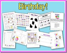 Download a free Birthday Fun printable unit from 2 Teaching Mommies.  This unit is full of creative activities including:      * Beginning Writing/Cutting Practice     * Size Sequencing     * Patterns     * Letter Match     * Number Order Puzzle     * Spelling Pages     * Counting Clip Cards     * Which is Different?     * Balloon Color Book