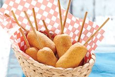 Beer-Battered Corn Dogs, from Canadian Living - it was so warm here today it made me think of summer picnic foods.we set a temperature record! Corn Dog Batter, Beer Batter, Dog Recipes, Snack Recipes, Delicious Recipes, Beer Recipes, Savoury Recipes, Recipies, Tasty