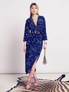 rixo zodiac print silk midi dress navy camellia