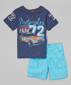 This Navy 'Motorplex' Tee & Blue Shorts - Toddler & Boys by BOYZ WEAR is perfect! #zulilyfinds