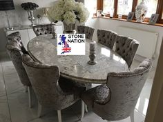 Beautiful oval table made from Summerhill quartz, with eight stunning Cara dining chairs. Large Format Tile, Dining Chairs, Dining Table, Oval Table, Stone Tiles, Tile Design, Quartz, Colours, Furniture