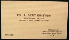 Albert Einstein (Famous Business Cards) | Via: blog.thaeger.com (#einstein #businesscard)