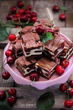 Piece of cherry cake on platter Sweets Recipes, Brownie Recipes, Just Desserts, Cake Recipes, Cooking Recipes, Romanian Desserts, Romanian Food, Tummy Yummy, Good Food