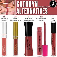 The highly requested #Kathryn Lipstick Alternatives are here 🍓❣Another almost identical dupe for Kathryn is Kylie's #Kristen. Please leave me your thoughts & requests in the comments! 😊 #allintheblush #makeupslaves #trendmood #vegas_nay #makeup #beauty #hudabeauty #slave2beauty #insta_makeup #norvina #glamrezy #amrezy #makeupartist #motd #mua #makeupaddict #wakeupandmakeup #anastasiabeverlyhills #abh #dupethat #dupe #lipstick #dupes