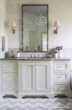 At Home in Arkansas - bathrooms - herringbone floor tile, gray marble, gray mosaic tile, gray countertops, white bathroom cabinets. Bathroom Vanity Designs, Bathroom Floor Tiles, Bathroom Renos, Small Bathroom, Master Bathroom, Bathroom Vanities, Brick Bathroom, Relaxing Bathroom, Bathroom Marble