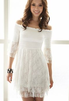 Off Shoulder Neck Half Sleeve Lace Casual Dress Casual Dresses from stylishplus.com