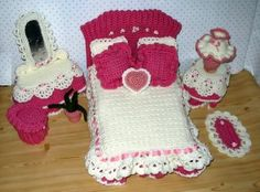 Barbie's bedroom - crocheted for the Estee Lauder Breast Cancer Research Foundation Online Auction