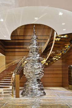 Louis Vuitton store in Shanghai by Peter Marino with Chinese modern sculpture