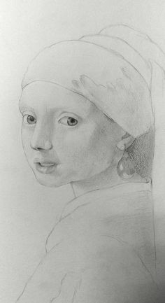 Girl with a pearl earring this is my light and shadow study for an acrylic painting! Love vermeers work