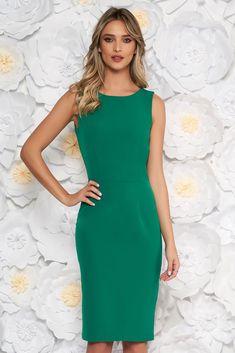 StarShinerS green elegant pencil dress slightly elastic fabric, tented cut, without clothing, sleeveless, zipper fastening