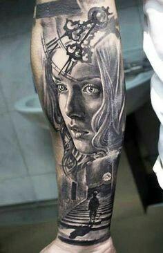 stairs to clock tattoo Tribal Arm Tattoos, Forearm Sleeve Tattoos, Skull Tattoos, Leg Tattoos, Body Art Tattoos, Tatoos, Dove Tattoo Design, Tatoo Designs, Define Tattoo