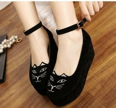 Women Cute Sweet Cat Fashion Style Strap High Heels Platform Wedges Shoes Gift