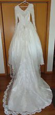 PRESTIGE WHITE WEDDING DRESS LACE SATIN PEARLS RIBBONS VERAS HOUSE OF BRIDALS~10