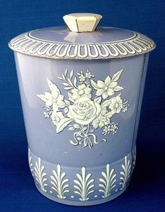 Tea Tin Tea Caddy Blue And White Canister Biscuit Tin 1950s England