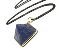 Layering Sodalite Pendant Necklace. Beautiful Pyramid Sodalite Stone, paired with shimmering black & gold chain! SODALITE Properties: - brings out inner peace - aids in communication - provides confidence - stimulates the throat chakra  Available in two l