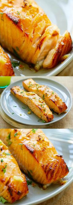 Honey Mustard Baked Salmon - moist, juicy and best baked salmon ever with honey mustard. Takes 10 mins active time and dinner is ready! #bestfishrecipes