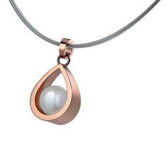 Reiner Edelstahl mit feinen Diamanten und edlen Steinen: Anhänger L=26 mm RG-vergoldet 1 Zuchtperle ø 10mm 031487G0