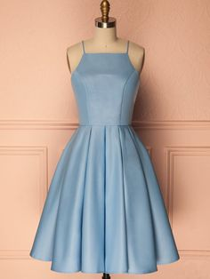 Customized Sleeveless Blue Party Homecoming Dresses Easy Short A-line/Princess Pleated Zipper Dresses