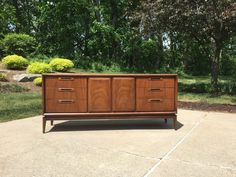 Vintage Mid Century Modern Walnut Credenza Dresser Console by IfLacquerCouldKill on Etsy Mid-century Modern, Modern Design, Contemporary Cabinets, Door Hinges, Wood Glue, Double Doors, Credenza, Console, This Is Us