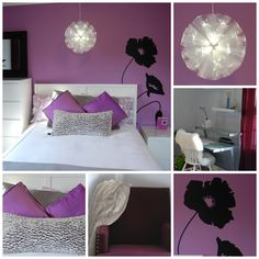 Designing for teen girls is so much fun! As you can see purple was our color of choice. I used black, white and grey as the accent colors to tone down the purple. The room is made up of the followi...