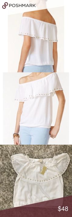 NWT Michael Kors Large Grommet off shoulder blouse NWT Michael Kors white grommet blouse size large the top has a few makeup (foundation,lipstick) marks. It can be easily cleaned. Michael Kors Tops Blouses