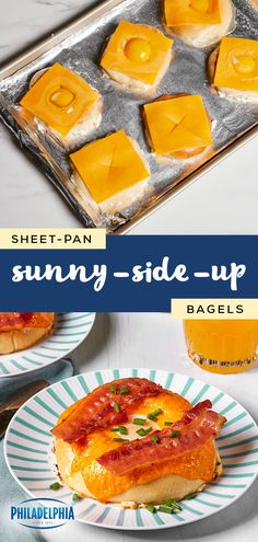 Sheet-Pan Sunny-Side-Up Bagels – Breakfast for a crowd just got a whole lot easier! Check out this delicious combination of bagels, melted cheese, bacon, and eggs to see how simple your weekend morning can be thanks to this recipe. What's For Breakfast, Breakfast Dishes, Breakfast Recipes, Brunch Recipes, Cooking Recipes, Keto Recipes, Melted Cheese, The Best, Yummy Food