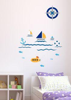 Wall decal MARINE 142 cm x 200 cm loony bin by LoonyBinWorkshop