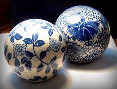 Vintage Spheres Blue and Tan Ceramic Flower Designs Home Decor. $20.00, via Etsy.