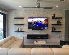 Floating tv stand entertainment center home design idea charming inspiration cozy console espresso pertaining to en Decor, Floating Tv Stand, Living Room Decor, Living Room Tv, Trendy Living Rooms, White Floating Shelves, Living Room Entertainment, Living Room Tv Wall, Living Room Designs