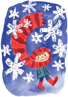 Items similar to Christmas Scarf cards (Pack of on Etsy Painting For Kids, Drawing For Kids, Art For Kids, Winter Art Projects, School Art Projects, Noel Christmas, Christmas Crafts, Snowflakes Art, New Year Art