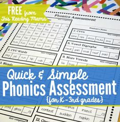 Quick and Simple Phonics Assessment and the ultimate list of free phonics activities Teaching Phonics, Phonics Activities, Reading Activities, Teaching Reading, Guided Reading, Teaching Ideas, Reading Groups, Free Phonics Worksheets, Teacher Resources