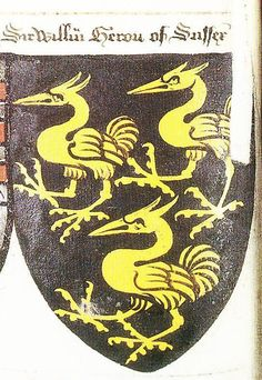 "Writhe's Book, c.1480, as exerpted in Peter Gwynn-Jones, "" - http://www.sofyalarus.info/heraldicart/HeronSussex.jpg"