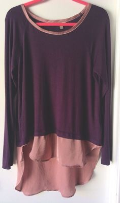 Bordeaux Anthropologie Women Top Long Sleeves Purple Lagenlook Asymmetric Hem Lg #Bordeaux #Blouse