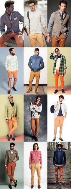 Men's Orange Legwear Outfit Inspiration Lookbook