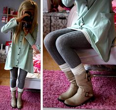 cable knit leggings and huge cardigan - super cute for the cold weather!