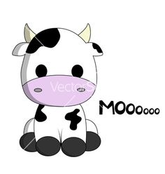 Cute cow cartoon vector on VectorStock®