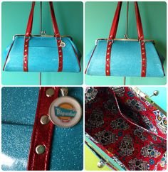 Sky blue and wine red glitter kisslock purse with sugar skull lining by Disgraceland.
