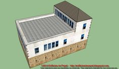 Huge roof terrace in the paper model. The upper floors could house offices or living area, or both. Such a combination is not unusual in rural inland of Galicia, for example.