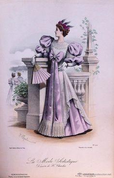 Arte: LA MODE ARTISTIQUE ORIGINAL S.XIX, G. JANET, COLOREADA A MANO, MODA ELEGANTE DE SEÑORAS, PARIS, 43X2 - Foto 2 - 48652291