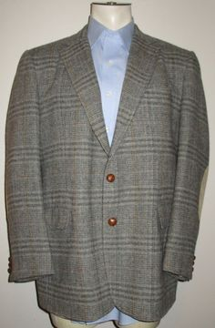 Men's Stanley Blacker Gray Plaid Sport Coat - 44R - Leather Elbow Patches - Wool #StanleyBlacker #TwoButton