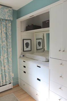 great idea to convert a closet in a kids room into storage.  looks great, and super functional!