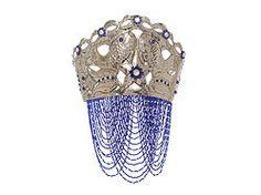 Yemoja Cobalt Crystal Pearl Crown