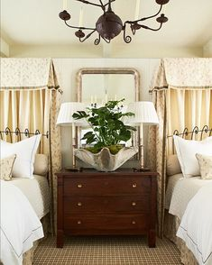 "Heather Chadduck Hillegas on Instagram: ""A pair of beds from our guest bedroom at #pineapplehouse with pelmuts sewn in @heatherchadducktextiles and custom @quadrillefabrics !…"" Lay Me Down, Dresser As Nightstand, Simply Beautiful, Guest Room, Neutral, Interior Design, Table, House, Furniture"