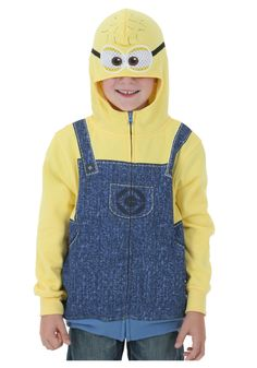 A fun costume hoodie that turns all the kids into Minions. Yes it's a yellow Despicable Me hoodie with blue coveralls printed on it and a mask like hood. Homemade Minion Costumes, Easy Halloween Costumes, Cool Costumes, Halloween Fun, Costume Ideas, Despicable Me Costume, Despicable Minions, My Minion, Minion Pumpkin