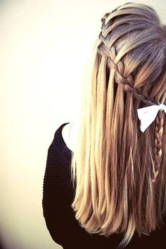 Very simple fall looking French braid. If you know how to water fall braid and French braid, you can do this hairstyle. Simply start out French braiding collecting hair only to the top strand. DO NOT COLLECT HAIR TO BOTTOM LIKE A NORMAL FRENCH BRAID!!! Ho