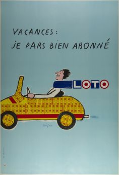 Description: Vacation: I am leaving well-subscribed With handwritten script against a pastel blue background over a speedy collage car, this Savignac poster perfectly embodies a light-hearted voyage.