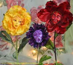 NEW! SECOND EDITION ALICE IN WONDERLAND TALKING FLOWERS BY JENNIFER SUTHERLAND 2016 BRAND NEW EDITION TO MY TALKING FLOWERS SERIES! 10 BRAND NEW FACE SCULPTS THAT WERE HAND SCULPTED THEN CAST IN RESIN. ALL HANDMADE BY ME, THE ARTIST. I USE LIFE SIZE SILK FLOWERS FOR MY TALKING