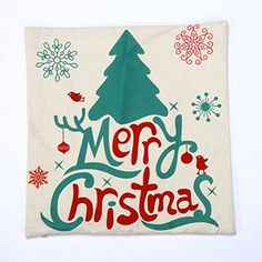 Funpa Merry Christmas Custom Zippered Square Pillowcase Cushion Cover for Home Decoration 17.7'' x 17.7'' >>> You can find out more details at the link of the image. (This is an affiliate link) #EventPartySupplies