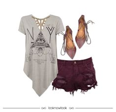 T-shirt longa + Short destroyed bordô + Lace up flats #moda #look #outfit #lojaonline #ootd #shop #lnl #looknowlook