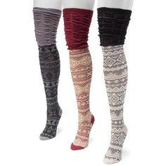 MUK LUKS 3-pk. Women's Microfiber Fairisle Over-the-Knee Socks ($27) ❤ liked on Polyvore featuring intimates, hosiery, socks, multicolor, overknee socks, muk luks socks, over the knee hosiery, multi color socks and microfiber socks